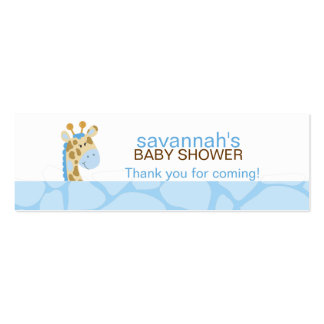 Blue Giraffe Skinny Business Card Favor Tag