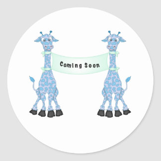 Blue Giraffes Coming Soon Classic Round Sticker