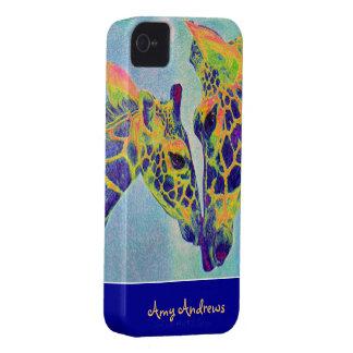 blue giraffes iphone case- personalizable iPhone 4 Case-Mate case