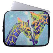 blue giraffes laptop laptop sleeve