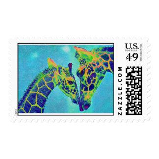 blue giraffes postage
