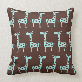 Blue Giraffes Throw Pillow