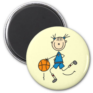 Blue Girl Basketball Player T shirts and Gifts 2 Inch Round Magnet