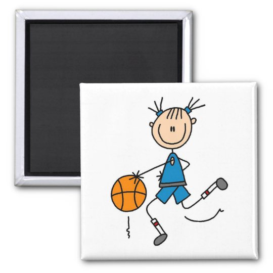 Blue Girl Basketball Player T shirts and Gifts 2 Inch Square Magnet