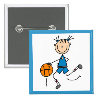 Blue Girl Basketball Player T shirts and Gifts Button