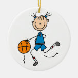 Blue Girl Basketball Player T shirts and Gifts Christmas Tree Ornament