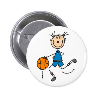 Blue Girl Basketball Player T shirts and Gifts Pinback Button