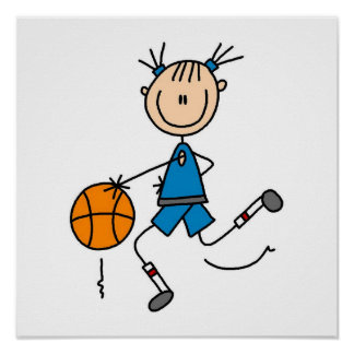 Blue Girl Basketball Player T shirts and Gifts Poster