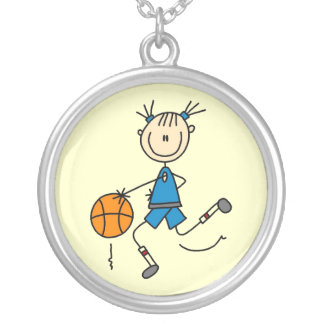 Blue Girl Basketball Player T shirts and Gifts Silver Plated Necklace