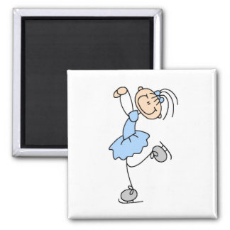 Blue Girl Figure Skater T-shirts and Gifts 2 Inch Square Magnet