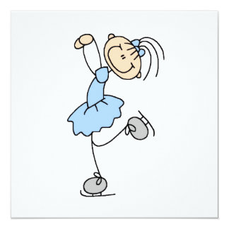 Blue Girl Figure Skater T-shirts and Gifts 5.25x5.25 Square Paper Invitation Card