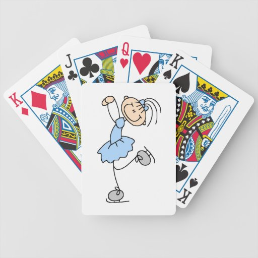 Blue Girl Figure Skater T-shirts and Gifts Bicycle Card Deck