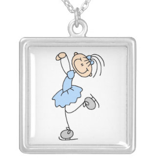 Blue Girl Figure Skater T-shirts and Gifts Silver Plated Necklace