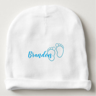 Blue Girl Personalized Footprint Little Baby Feet Baby Beanie