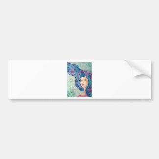 Blue girl portrait. Long hair. Whimsical painting. Bumper Sticker