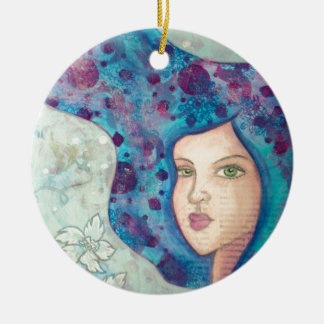 Blue girl portrait. Long hair. Whimsical painting. Double-Sided Ceramic Round Christmas Ornament