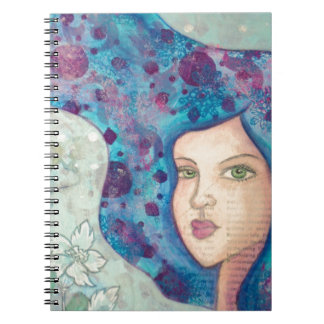 Blue girl portrait. Long hair. Whimsical painting. Notebook