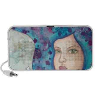 Blue girl portrait. Long hair. Whimsical painting. Mini Speakers