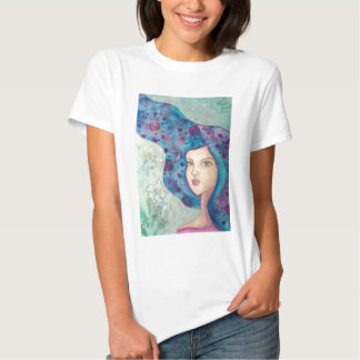 Blue girl portrait. Long hair. Whimsical painting. T-shirt