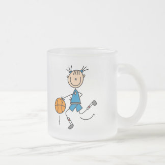 Blue Girls Basketball Tshirts and Gifts Frosted Glass Coffee Mug