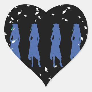 blue girls black white heart sticker