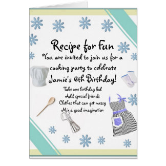 Blue Girls Cooking Party Invitation Greeting Card
