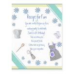 Blue Girls Cooking Party Invitation Postcard