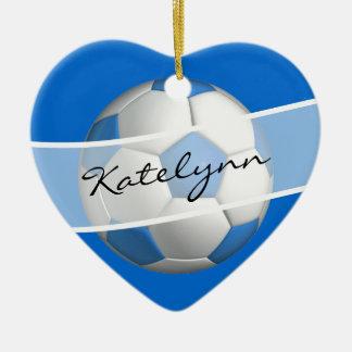 Blue Girls Soccer Ball Black  Heart Ornament