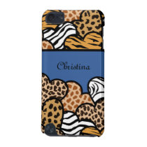 Blue Girly animal print hearts with a name iPod Touch (5th Generation) Cover