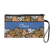 Blue Girly animal print hearts with a name Wristlet