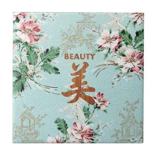Blue Girly Floral print Beauty kanji Ceramic Tile