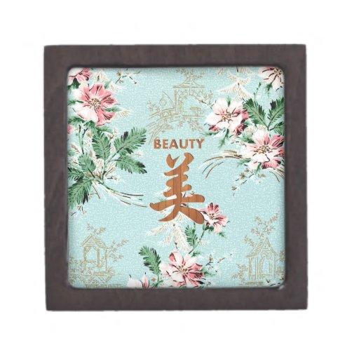 Blue Girly Floral print Beauty kanji Premium Trinket Boxes