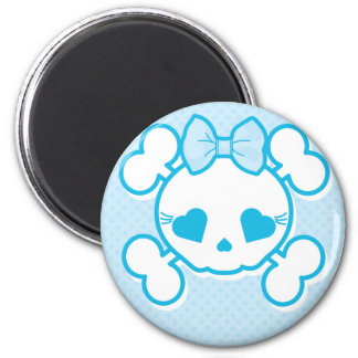 Blue Girly Skull Magnet