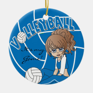 Blue Girly Volleyball Ceramic Ornament