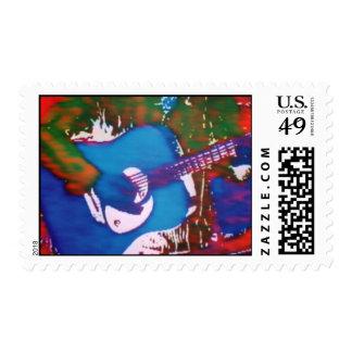 Blue Gituar Postage Stamp
