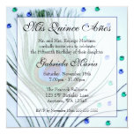 """Blue Glam Peacock Feather Quinceanera Birthday 5.25"""" Square Invitation Card"""