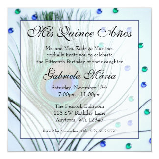 Blue Glam Peacock Feather Quinceanera Birthday Personalized Invites