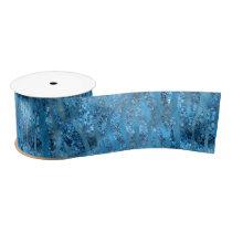 Blue Glam Zebra Stripes Satin Ribbon