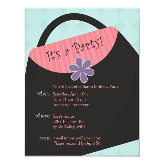 Blue Glamour Girl Party Invite