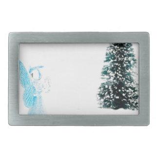 Blue glass angel praying near christmas tree rectangular belt buckle