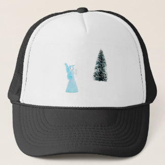 Blue glass angel praying near christmas tree trucker hat