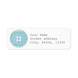 Blue Glass Button Address Label