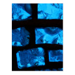 Blue glass chunks with black grout between them postcards