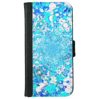 Blue Glass Crystals Bubbles Jewel Effect Wallet Phone Case For iPhone 6/6s
