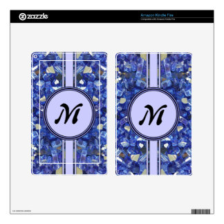 Blue Glass Crystals Monogram Sparkle Decal For Kindle Fire