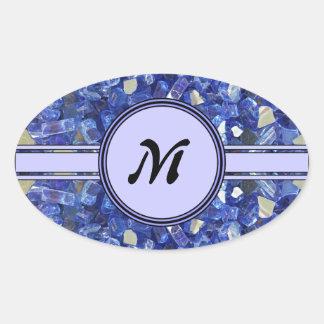 Blue Glass Crystals Monogram Sparkle Oval Sticker