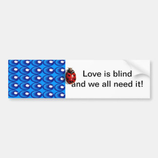 blue glass dots ladybug heart spots bumper sticker