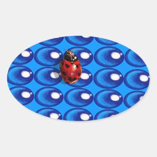 blue glass dots ladybug heart spots love stickers