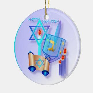 Blue Glass Dreidel-Happy Hanukkah Ceramic Ornament