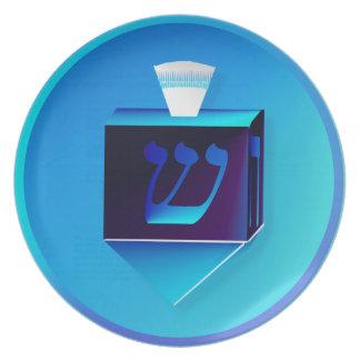 Blue Glass Dreidel Plate